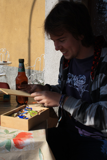 One of our guests, Adam, playing with a jigsaw