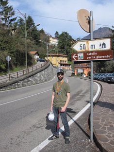 Toby showing the way to the hostel